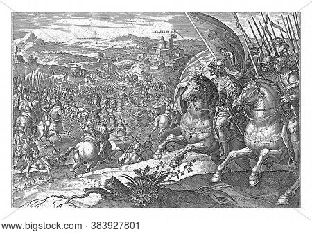 Pietro Strozzi pull-out from the besieged Sienna (1554). In the foreground Strozzi and his army. In the background an abbey near Siena and the Florentine army, vintage engraving.