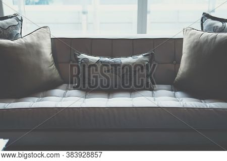 Gray Sofa Chair In Living Room. Home Interior