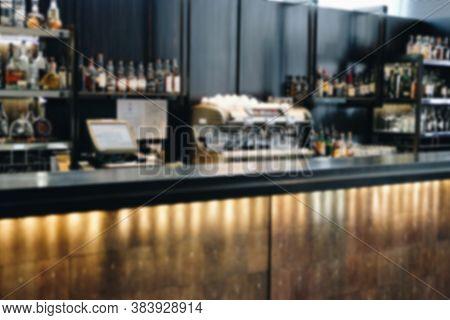 Bar Pub Counter In Cafeteria Restaurant. Defocused Blur Background
