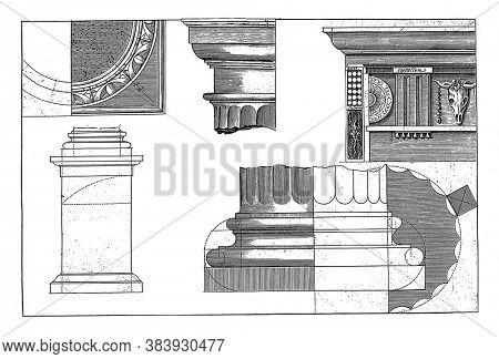 Doric building order, Hendrick Hondius (I), after Hans Vredeman de Vries, after Paul Vredeman de Vries, 1620 Details of the Doric building order, pedestal, capital, base and bridle, vintage engraving.