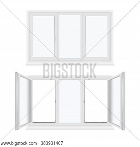 Windows Plastic Three Sash Or Leaf With Fixed Center Frame, Sill Realistic Templates Set.