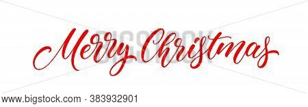 Merry Christmas Banner Text. Xmas Holiday Lettering Design For Postcard, Poster, Greeting Card And B