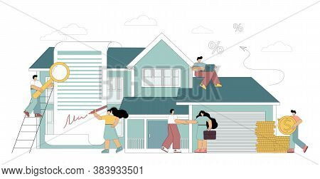 Mortgage Concept. Little People Take A Home Loan, Sign A Lease, Invest In Real Estate, Buy A House.