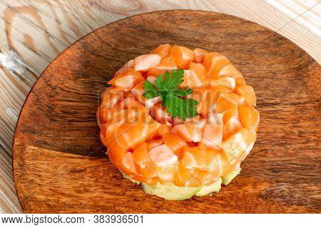 Raw Salmon Tartare, Trout Tartar Or Red Fish Tatar