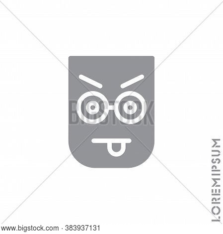 Mocking Teasing And Angry. Showing Tongue And Frowning Eyebrows Emoticon Icon Vector Illustration. S