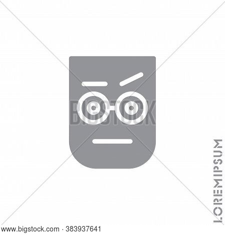 Confused Thinking Emoticon Icon Vector Illustration. Style. Gray On White Background