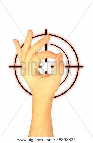 Hand And Target On A White Background
