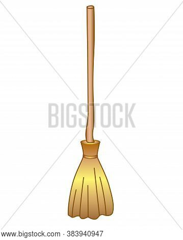 Broom - Full Color Stock Illustration On The Theme Of Halloween. Witch's Broom - Halloween Illustrat