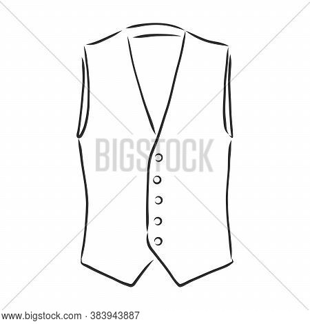 Waistcoat Vector Sketch Icon Isolated On Background. Hand Drawn Waistcoat Icon. Classic Vest, Vector