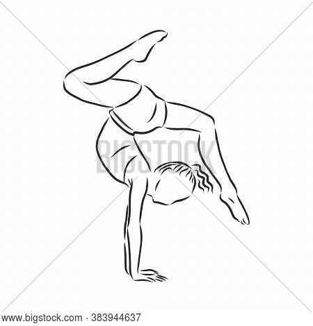 Acrobatic, Balance, Performance, Cooperation Concept. Hand Drawn Acrobats Performing On Scene Concep