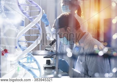 Medical Science Laboratory. Concept Of Bacteria Research Against Covid-19 Coronavirus