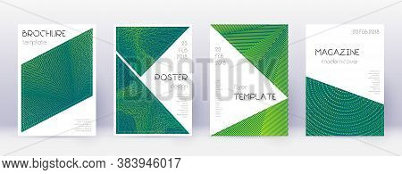 Triangle Brochure Design Template Set. Green Abstract Lines On Dark Background. Bold Brochure Design