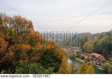 Bern, Switzerland-october 23,2019:view Of The River And Old Bridge In Autumn Season Is The Beautiful