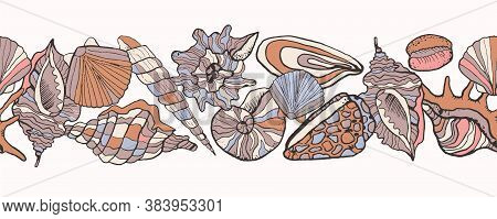 Summer Header With Seashells On The Sand Endless Border. Sketch Hand Drawn Multicolored Seashells Of