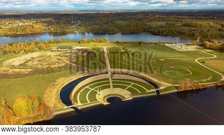 Autumn Aerial Landscape Over The Garden Of Destiny In Koknese, Open-air Park \\\