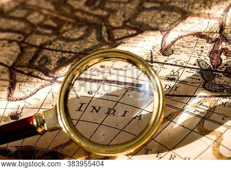 Magnifying Glass Old Vintage Map And Inscription India Under Magnifier Glass