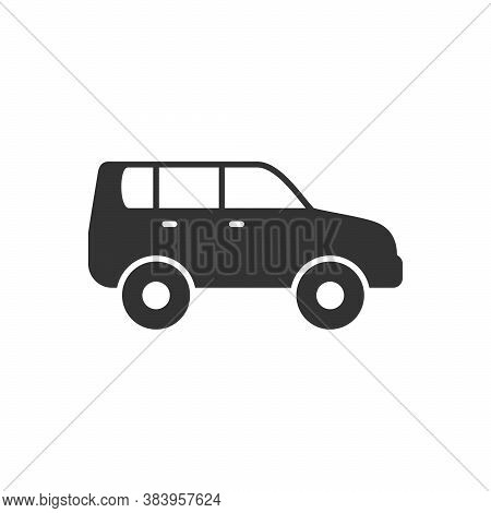 Off-road Car Or Suv Glyph Icon Isolated On White. Vector Illustration