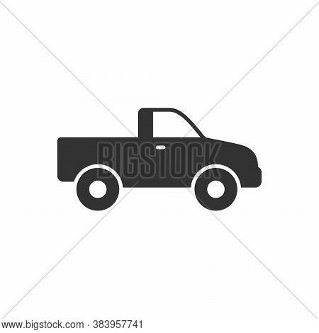 Pick-up Car Glyph Icon Or Suv Vehicle Isolated On White. Vector Illustration