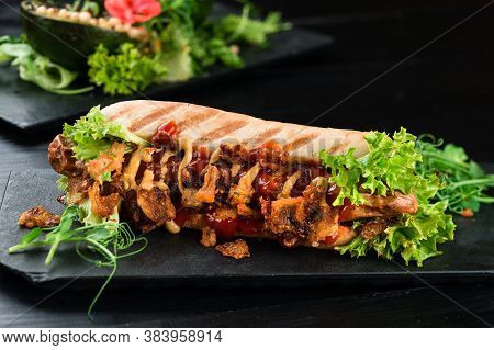 Grilled Hot Dogs With Vegetables, Expensive Hot Dog With Salad, Sausage In Dough With Herbs And Ketc