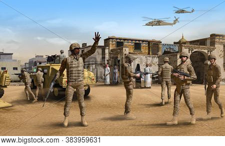 American Infantry Soldiers On Patrol With Fighting Vehicles In A Middle Eastern Town, 3d Render.