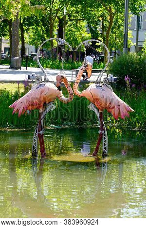 La Roche-sur-yon, , Vendee / France - 09 01 2020 : Flamingoes Couple Pink One Of The Animals Of The