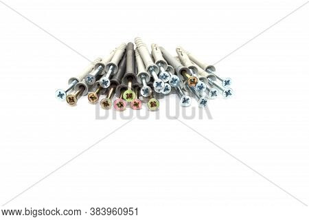 Stack Of Dowel Nails For Attaching To Dense Materials As Bricks, Stone, Concrete. Type Of Fasteners