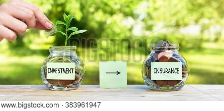 Investment Insurance, Sticker On A Glass Jar, With Coins And A Plant In One Of Them, Where A Womans