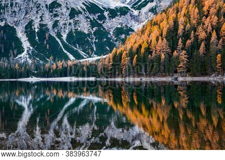 lago di Braies in Dolomites mountains, Sudtirol, Italy