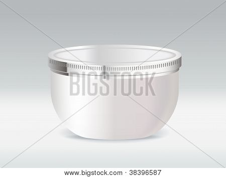 Cosmetic container for body cream or hair gel