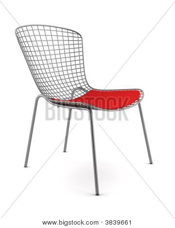 Metallic Chair With Red Pillow Isolated
