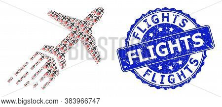 Flights Grunge Round Stamp Seal And Vector Recursion Collage Air Liner. Blue Stamp Seal Includes Fli