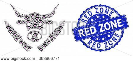 Red Zone Corroded Round Seal And Vector Recursive Mosaic Butchery Knives. Blue Stamp Seal Contains R