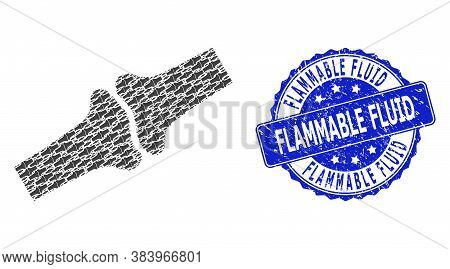 Flammable Fluid Grunge Round Stamp Seal And Vector Recursion Mosaic Bone Joint. Blue Stamp Has Flamm