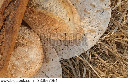 Various Breads On Flat Cake Lying In Hay. Harvest In Village Concept. Fresh Baked Bread On Hay Backg