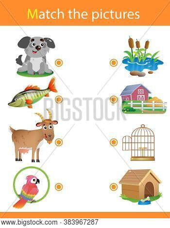 Matching Game, Education Game For Children. Puzzle For Kids. Animals With Their Homes. Dog, Fish, Go