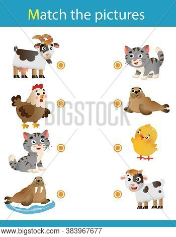 Matching Game, Education Game For Children. Puzzle For Kids.  Animals With Their Young. Goat, Chicke