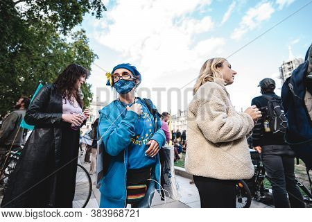 London / Uk - 2020.09.05: Anti Brexit People  At Extinction Rebellion Protest At Parliament Square