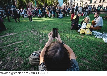 London / Uk - 2020.09.05: Man Recording Video With His Phone At Extinction Rebellion Protest At Parl
