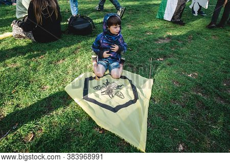 London / Uk - 2020.09.05: Young Boy At Extinction Rebellion Protest At Parliament Square