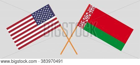 Crossed Flags Of Belarus And The Usa. Official Colors. Correct Proportion. Vector Illustration