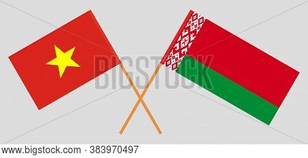 Crossed Flags Of Belarus And Vietnam. Official Colors. Correct Proportion. Vector Illustration