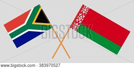 Crossed Flags Of Belarus And The Rsa. Official Colors. Correct Proportion. Vector Illustration