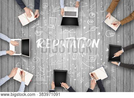 Group of business people working in office with REPUTATION inscription, coworking concept