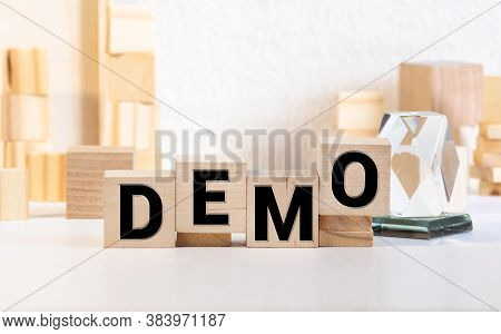 Demo Word Made With Building Blocks Isolated On White.