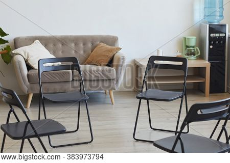 Background Image Of Empty Chairs In Circle Ready For Therapy Session Or Support Group Meeting, Copy