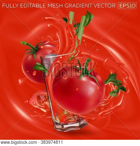 Tomatoes And Celery And A Glass With Splashing Tomato Juice.