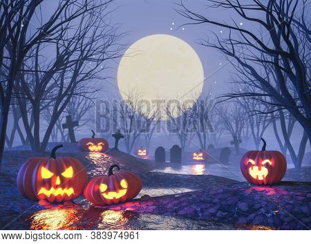 Halloween Concept ,jack O Lantern Pumpkin In The Cemetery Night 3d Render,there Are Swamps And Fog.