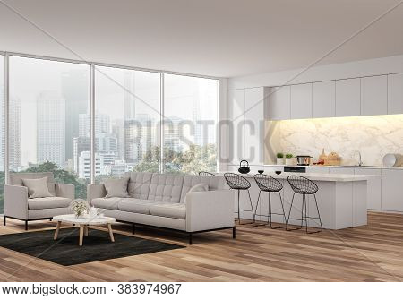 Modern Living, Dining Room And Kitchen With City View 3d Render.the Rooms Have Wooden Floors ,decora
