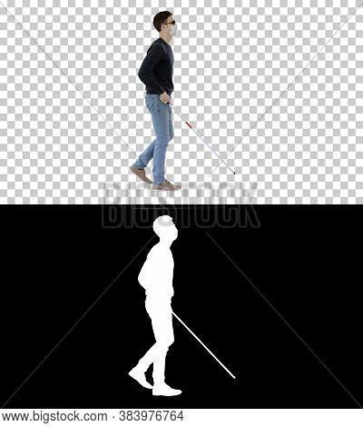 Blind Man In Medical Mask Walking, Alpha Channel
