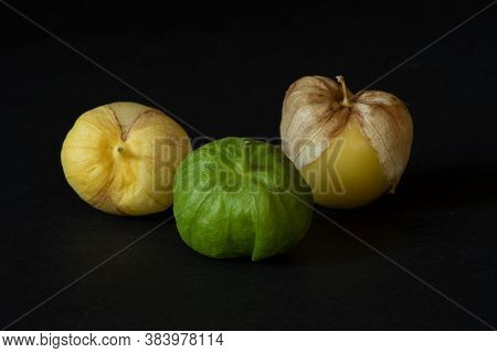 Unwashed Yellow And Green Tomatillos  On Black Background, Viewed From Dinner Angle- California Prod